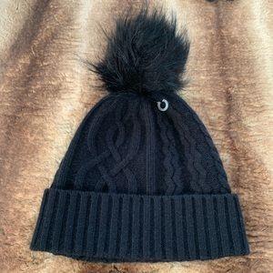 Halogen Cashmere Black Faux Fur Pom Beanie Hat